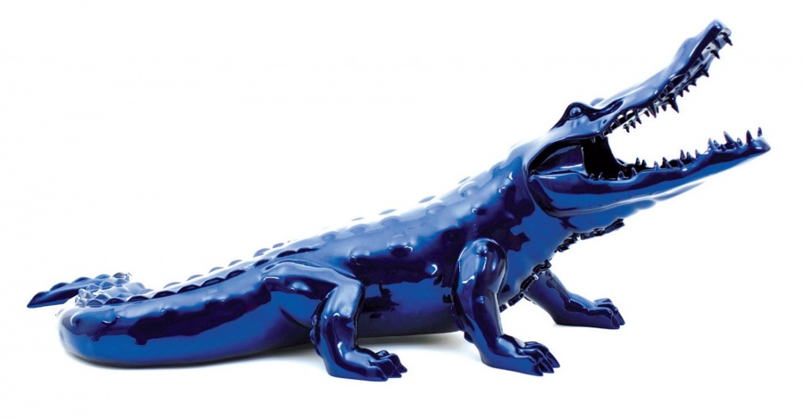 Blue Chrome Crocodile | Richard Orlinski | Artist | Art Angels