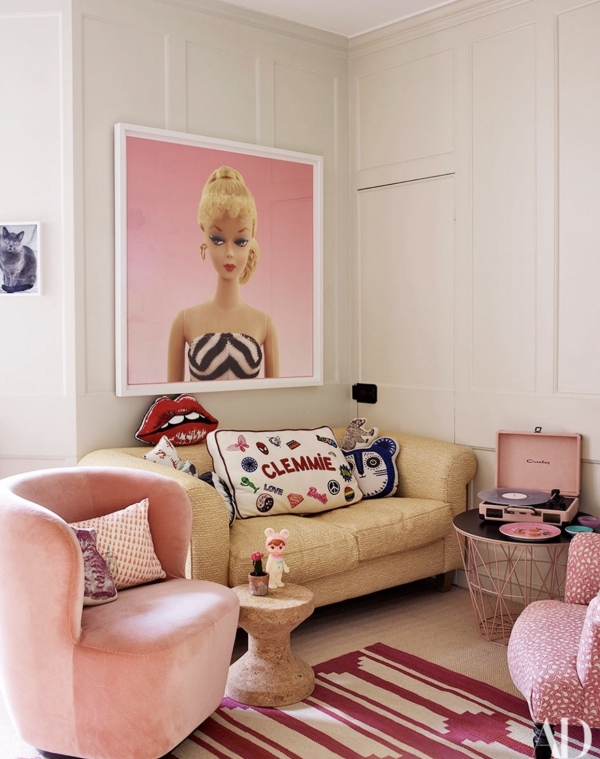 At home with Claudia Schiffer in Architectural Digest Featuring Barbie #1 by Beau Dunn