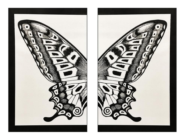 Diptych Butterfly - Black on Silver