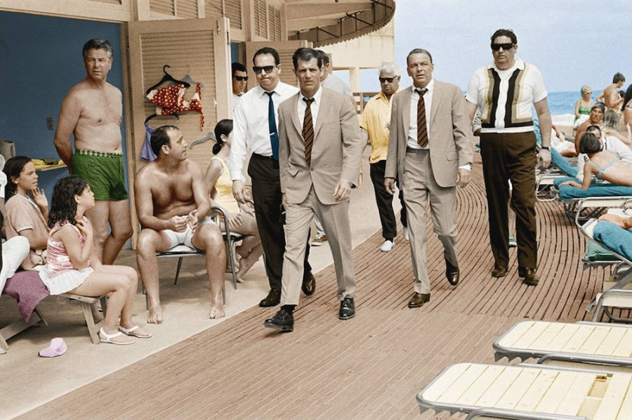 Frank Sinatra Boardwalk colourised