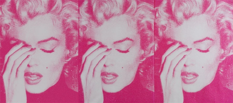 Marilyn Crying triptych, White and Bondage Pink