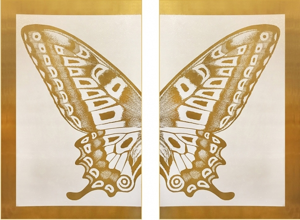 Diptych Butterfly III – Gold on White